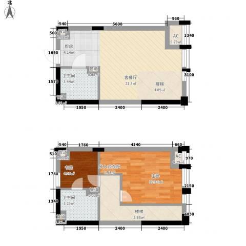 上榀坐2室1厅2卫0厨50.17㎡户型图
