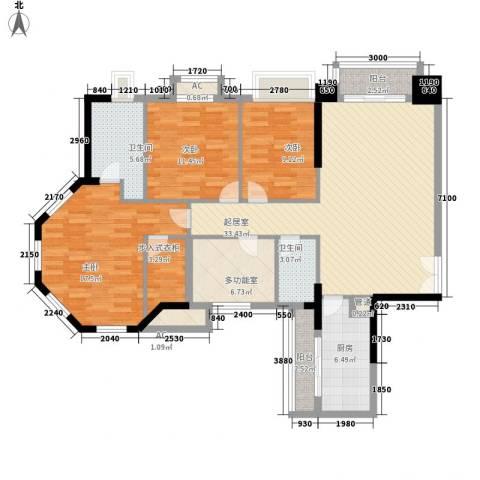 保利香槟花园3室0厅2卫1厨148.00㎡户型图