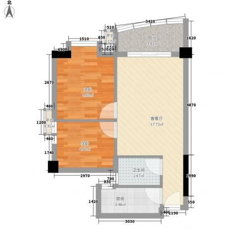 晓港西马路小区2室1厅1卫1厨62.00㎡户型图