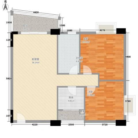 花街18三期2室0厅1卫1厨103.00㎡户型图