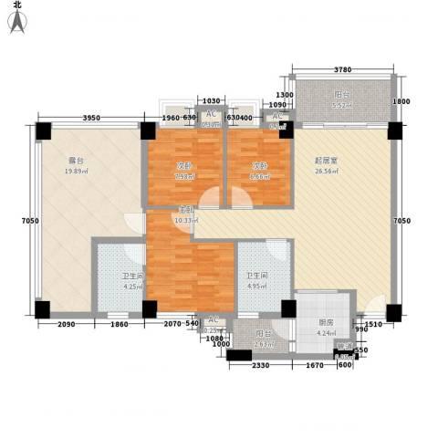 云山雅轩3室0厅2卫1厨118.00㎡户型图