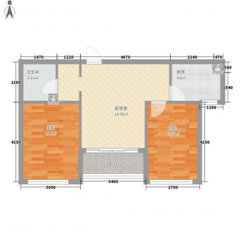 长兴湾一期2室0厅1卫1厨68.00㎡户型图