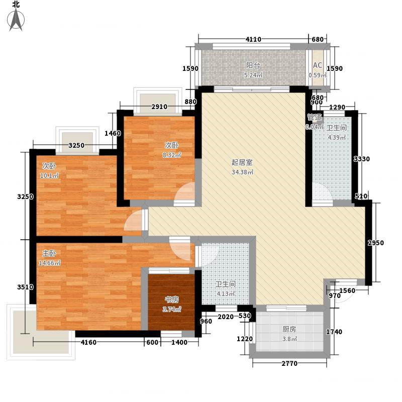 宏丰大厦A户型:四房两厅两卫,137.85平米_调整大小户型4室2厅2卫1厨