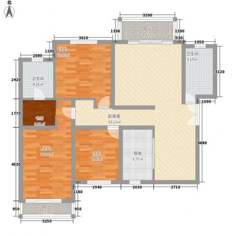 银丰山庄3室0厅2卫1厨137.00㎡户型图