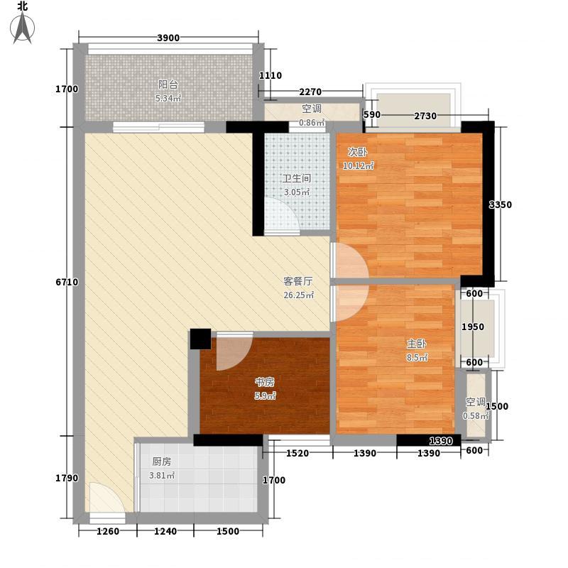 逸雅轩78.00㎡4幢2号户型3室2厅1卫1厨