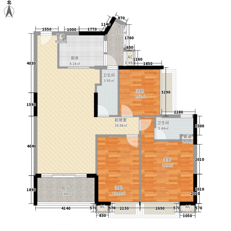 中兴花园二期122.46㎡中兴花园二期户型图B栋03户型3室2厅2卫1厨户型3室2厅2卫1厨