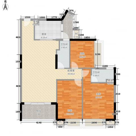 中兴花园二期3室0厅2卫1厨122.00㎡户型图