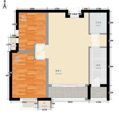 宸欣家园2室1厅1卫1厨78.00㎡户型图