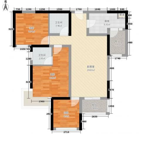 建发中央鹭洲3室0厅2卫1厨94.00㎡户型图