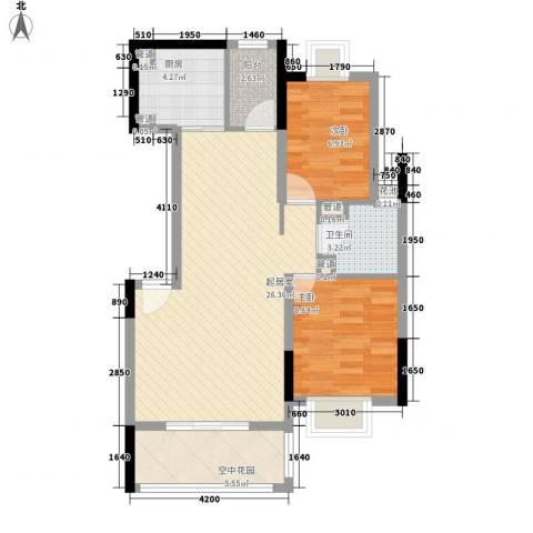 椰林嘉园2室0厅1卫1厨92.00㎡户型图