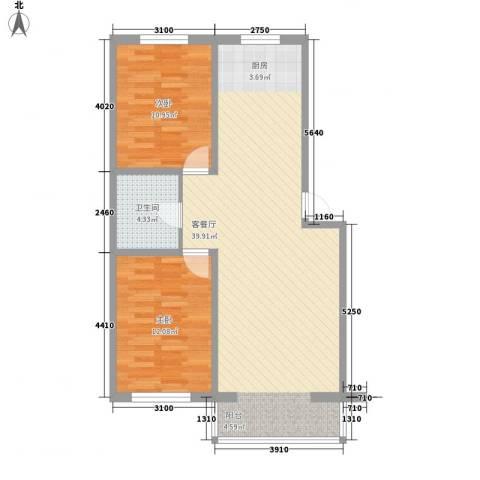 鸿搏雅园2室1厅1卫0厨94.00㎡户型图