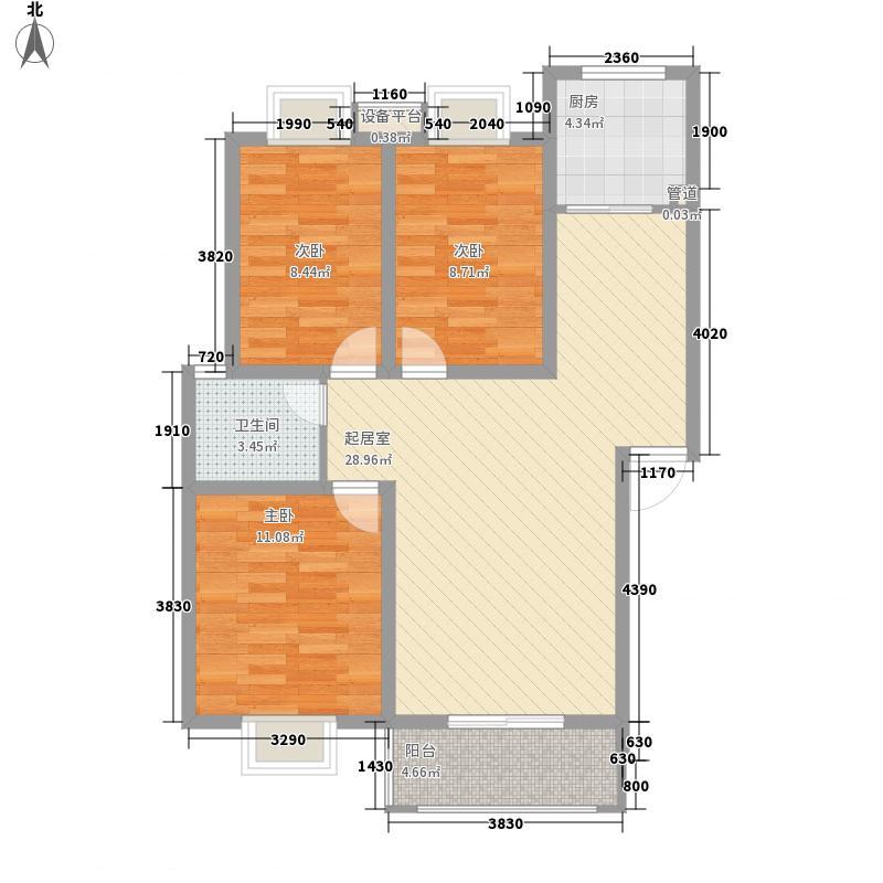 绿洲茗苑户型图一期24#E户型 3室2厅1卫1厨