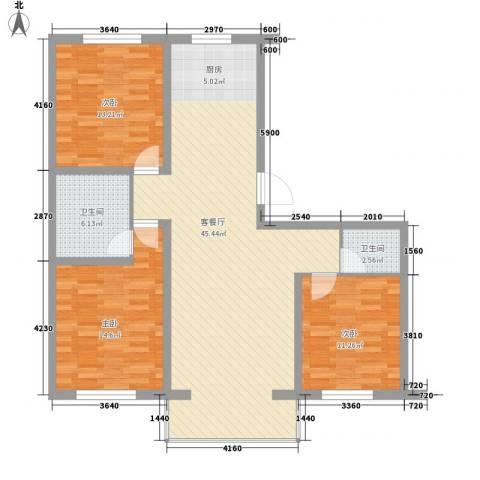 鸿搏雅园3室1厅2卫0厨131.00㎡户型图