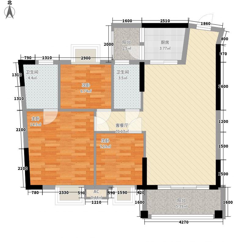 汇侨新城11.28㎡三期21座标准层02户型3室2厅2卫1厨