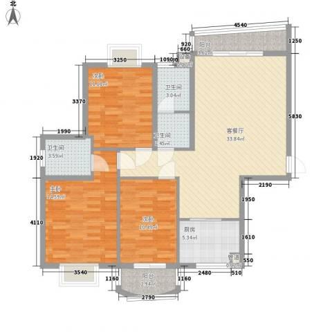 天赐良园3室1厅3卫1厨127.00㎡户型图