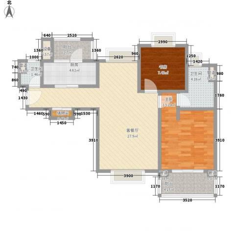 绿洲香岛2室1厅2卫1厨98.00㎡户型图
