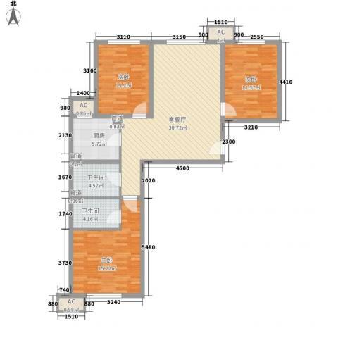 锦绣园自住型商品房3室1厅2卫1厨117.00㎡户型图