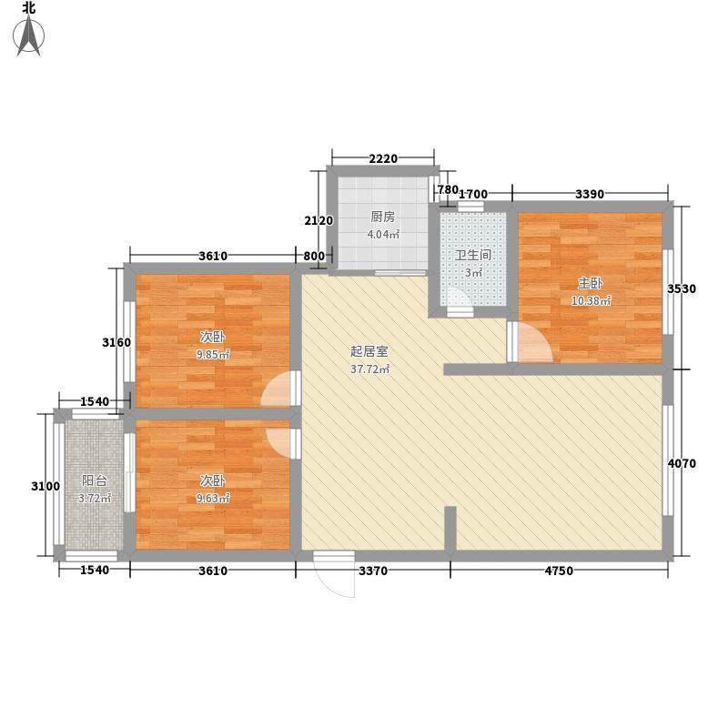粮油小区户型3室2厅1卫1厨