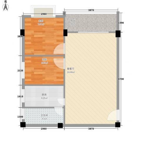 狮岭金辉园2室1厅1卫1厨69.00㎡户型图