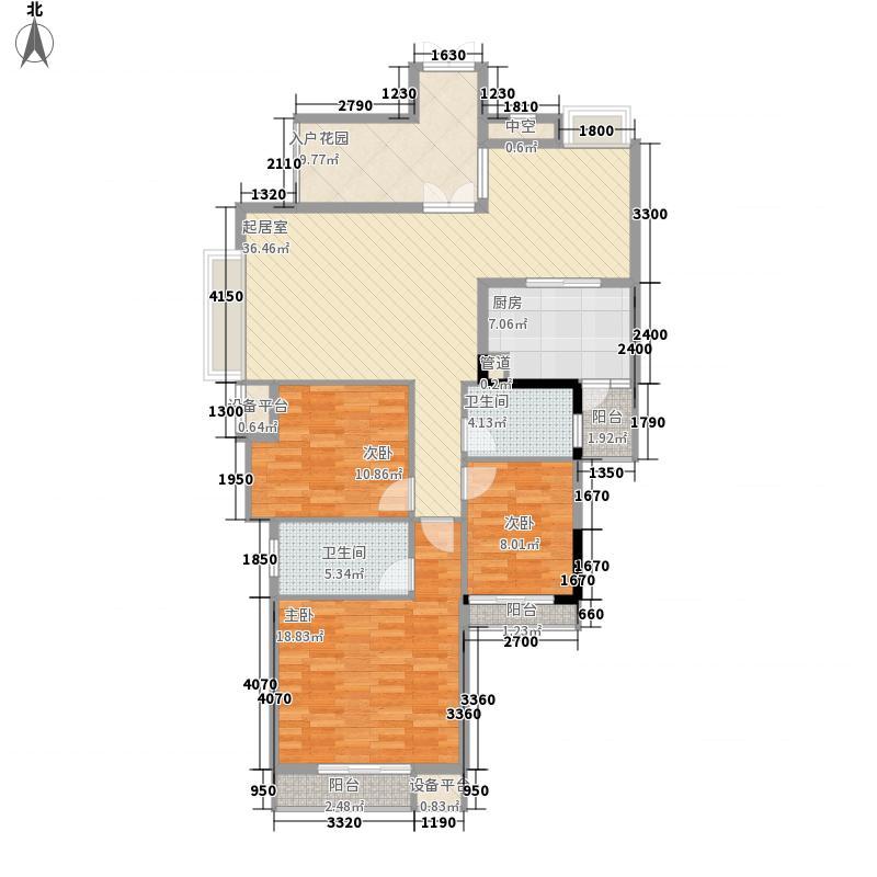 中天花园132.08㎡中天花园户型图御翠岭B1-5栋标准层3#户型3室2厅2卫户型3室2厅2卫