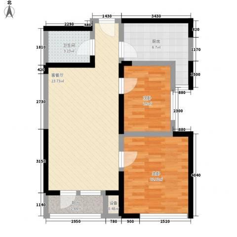 新兴骏景园二期2室1厅1卫1厨83.00㎡户型图
