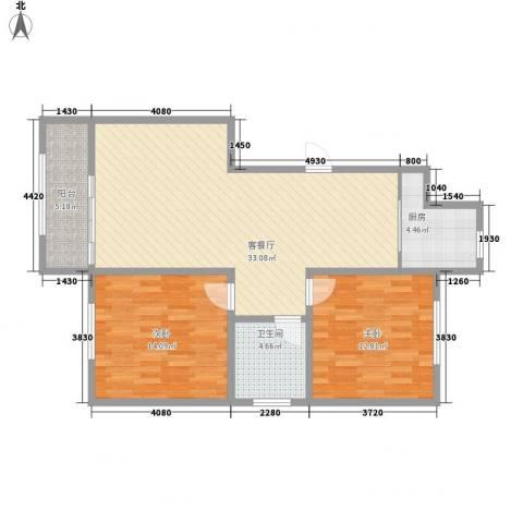 蒙鑫国际名城2室1厅1卫1厨104.00㎡户型图