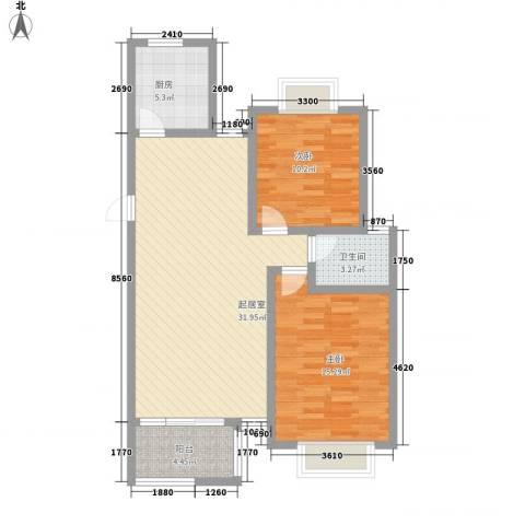 春晖园2室0厅1卫1厨101.00㎡户型图