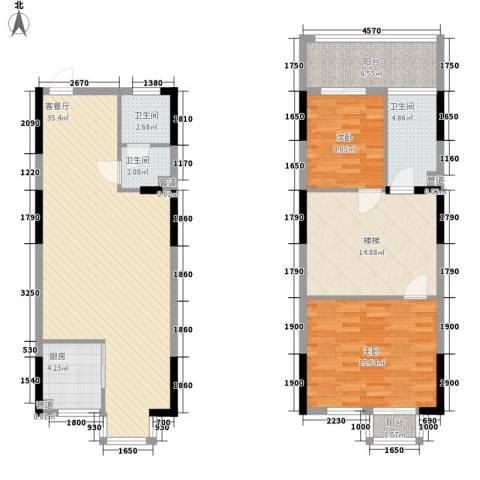 三泰茗居2室1厅3卫1厨135.00㎡户型图