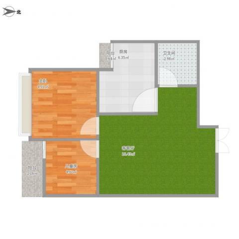 阳光・西雅图2室1厅1卫1厨55.00㎡户型图