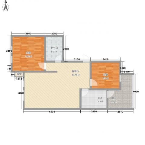 蒙鑫国际名城2室1厅1卫1厨108.00㎡户型图