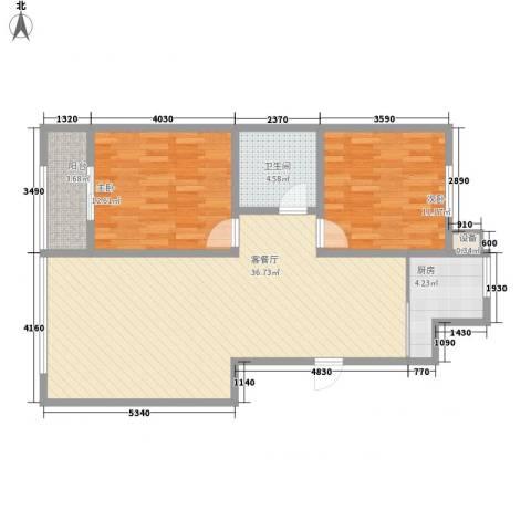 蒙鑫国际名城2室1厅1卫1厨103.00㎡户型图