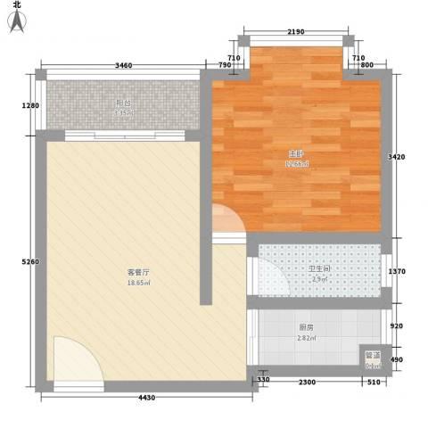 瓦窑排村委统建楼1室1厅1卫1厨60.00㎡户型图