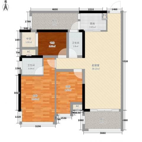 盛天公馆|88街区3室0厅2卫1厨88.00㎡户型图