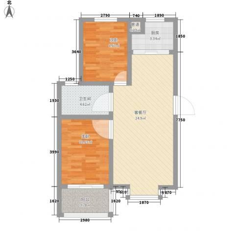 海韵馨园2室1厅1卫1厨81.00㎡户型图