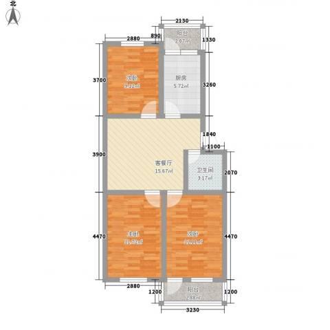 王官庄小区3室1厅1卫1厨91.00㎡户型图