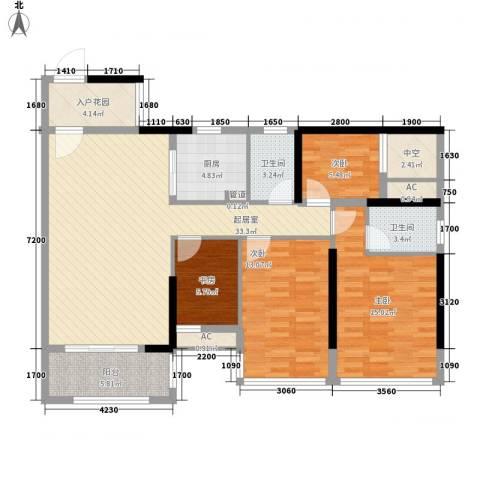 盛天公馆|88街区4室0厅2卫1厨112.00㎡户型图