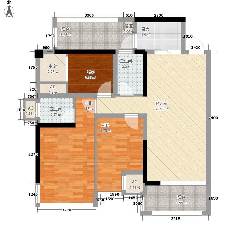 盛天公馆 88街区85.00㎡2#楼05户型2室2厅2卫1厨