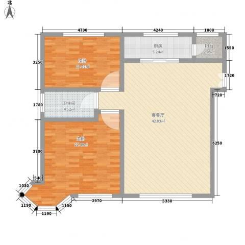 格兰小镇二期2室1厅1卫1厨121.00㎡户型图