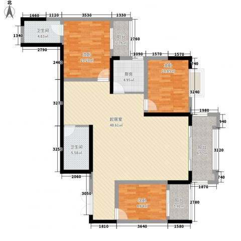 碧园花城3室0厅2卫1厨135.00㎡户型图