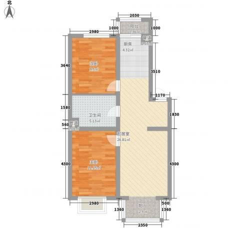 美林逸墅2室0厅1卫0厨79.00㎡户型图