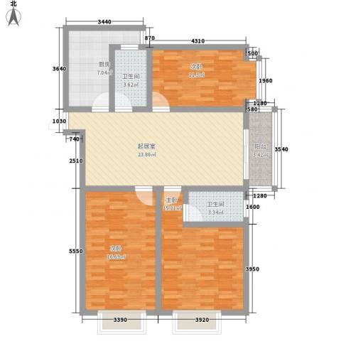 迎西城・龙湾佳园3室0厅2卫1厨122.00㎡户型图