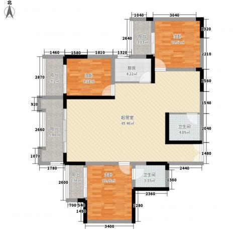 碧园花城3室0厅2卫1厨136.00㎡户型图