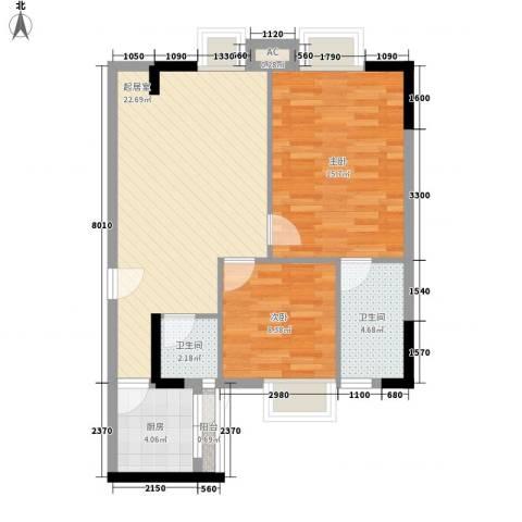 粤顺豪庭2室0厅2卫1厨70.00㎡户型图