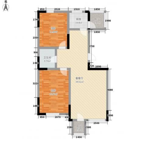 绿地新里中央公馆2室1厅1卫1厨106.00㎡户型图