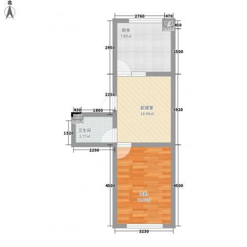 瘦西湖西苑1室0厅1卫1厨51.00㎡户型图