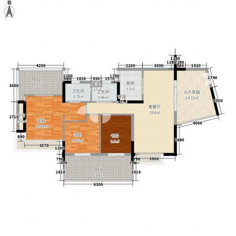 华发世纪城三期3室1厅2卫1厨116.70㎡户型图