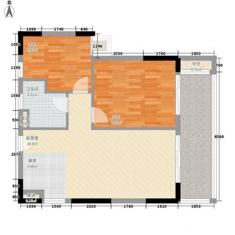 敏捷三亚湾公馆2室0厅1卫0厨84.00㎡户型图