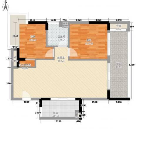 敏捷三亚湾公馆2室0厅1卫1厨84.00㎡户型图