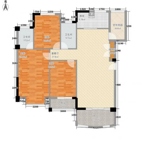 圆梦08庄园3室1厅2卫1厨129.00㎡户型图