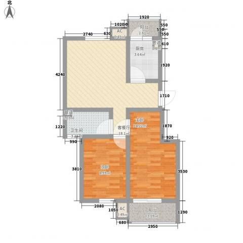 文昌北苑2室1厅1卫1厨62.00㎡户型图